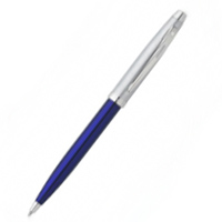 Blue Translucent w Brushed Chrome Cap w Nickel Plated Trim Ballpoint