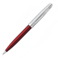 Red Translucent Brushed Chrome Cap Nickel Plated Trim Ballpoint